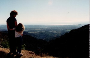 The two of us stopping to enjoy the view on a family road trip (circa 1988?)