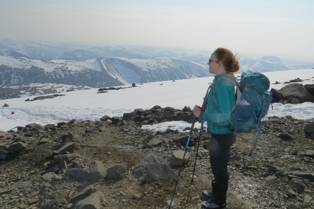 Katie Malik takes in the view from the Västra Leden (western trail) up Kebnekaise. July 2015. Photo by David Robertson.