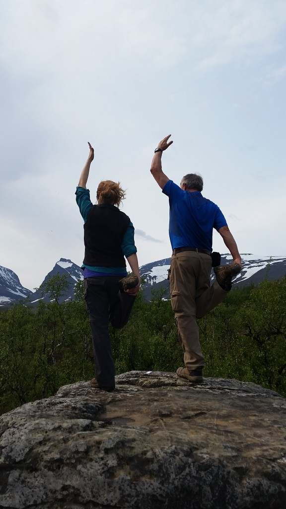 Just a normal day, doing yoga with dad on a rock in the arctic.