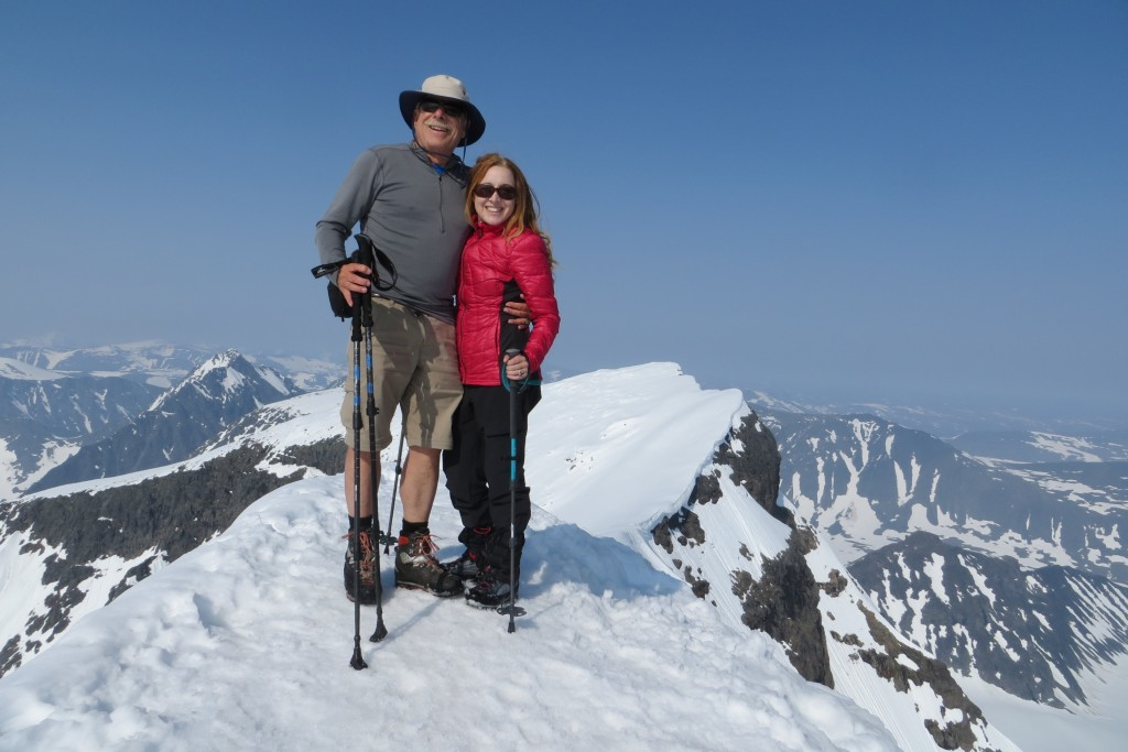 Katie Malik (age 35) and her father David Robertson (age 67) at the summit of Kebnekaise, the highest point in Sweden. July 2015. Photo by Anders Kvist.